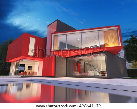 Realistic 3D rendering of a very modern upscale red house