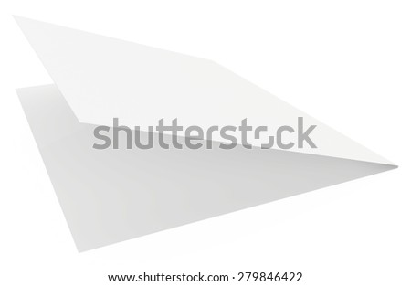 Realistic 3D rendering of the folded sheet of paper. - stock photo