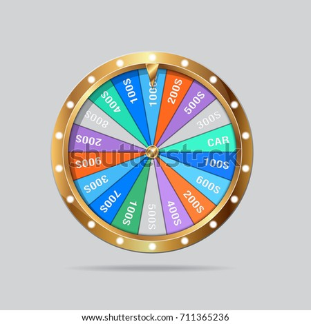Gold fortune wheel realistic vector illustration stock for Online wheel of fortune template