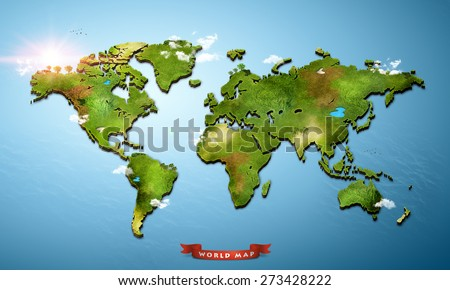 Realistic 3 D World Map Stock Illustration 273428222 Shutterstock