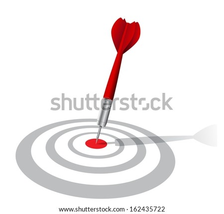 realistic darts target with shadow  - stock photo