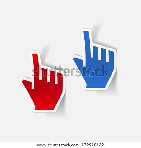 realistic design element: cursor, hand - stock photo