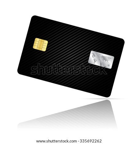Realistic detailed credit card with geometric black stripes abstract design isolated on white background - stock photo