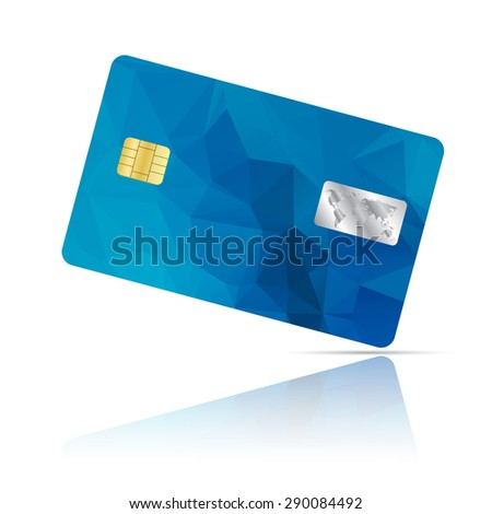 Realistic detailed credit card with geometric blue triangular design isolated on white background