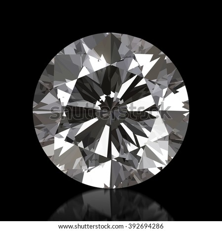 Realistic Diamond in top view , 3d illustration. - stock photo