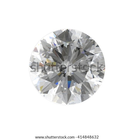 Realistic diamond in top view with caustic isolated on white background, 3d illustration. - stock photo
