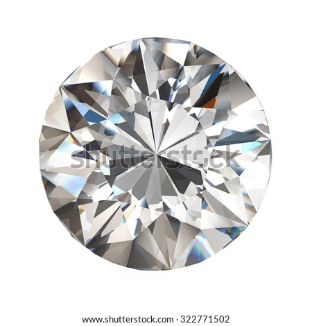 realistic diamond in top view with caustic on white