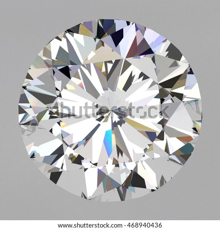 Realistic diamond in top view with caustic on white background, 3d illustration.