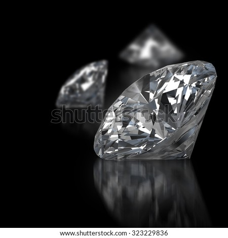 Realistic diamonds with soft focus placed on black background, 3d illustration.