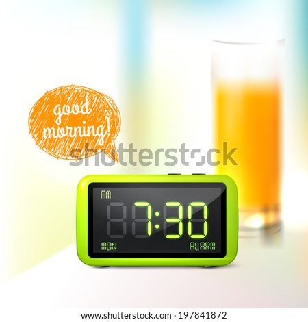 Realistic digital alarm clock with lcd display and glass of orange juice good morning background  illustration - stock photo