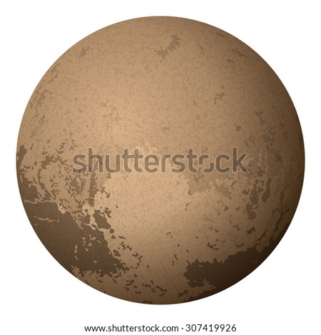 Realistic Dwarf Planet Pluto Isolated on White Background. Elements of This Image Furnished by NASA, Solarsystem.Nasa.Gov - stock photo