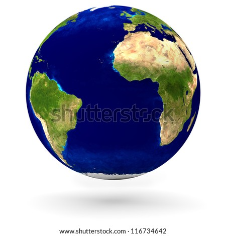 Realistic earth globe in 3D with continents and oceans
