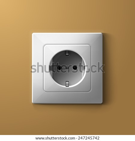 Realistic electric white socket on beige wall illustration