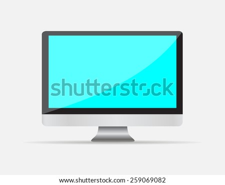 Realistic Empty computer display with blue blank screen isolated on white background.  illustration  - stock photo