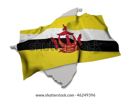 realistic ensign covering the shape of Brunei  (isolated shape series) - stock photo