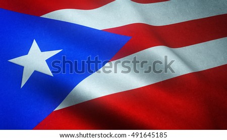 Realistic flag of Puerto Rico waving with highly detailed fabric texture.