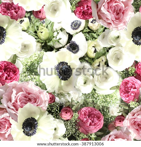 Realistic floral seamless pattern with realistic flowers anemone. Clip Art - Photo collage artistic work for floral design. - stock photo
