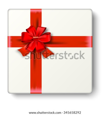 Realistic gift icon with red ribbon an bow, top view. illustration.  Raster version.