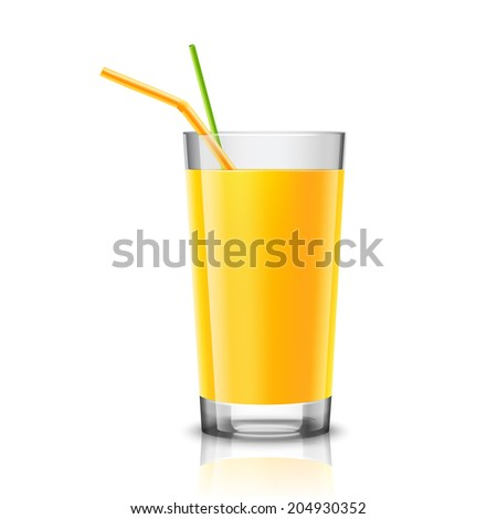 Realistic glass full of orange juice drink with cocktail straw isolated on white background  illustration