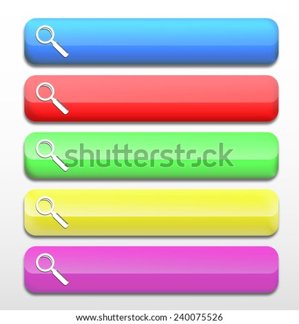 Realistic glossy colorful Web buttons with Magnifying symbol isolated on a white background. Set of colorful web buttons. - stock photo