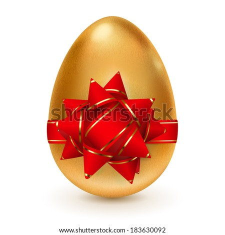 Realistic golden egg tied a red ribbon with golden stripes and a bow. Raster version.