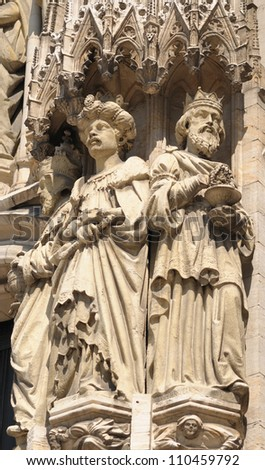 Realistic gothic statues of personages from Bible on exterior walls of Cathedral of St. Michael and St. Gudula in Brussels