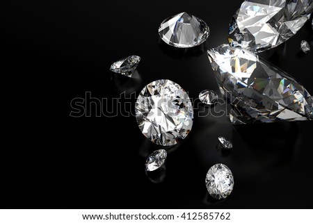 Realistic group of diamonds placed on black background with space, 3D illustration.
