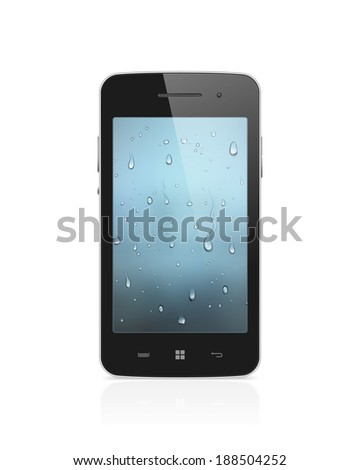 Realistic, high detailed illustration of modern smartphone with water drops wallpaper on screen isolated on white background - stock photo
