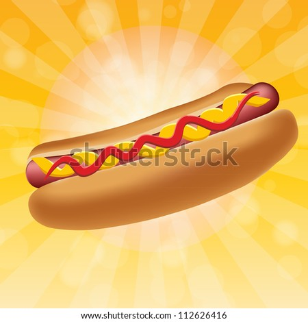 Realistic hot dog. Raster version. - stock photo