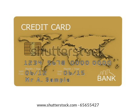 Realistic illustration of a gold credit card with fictional details, isolated on a white background. - stock photo