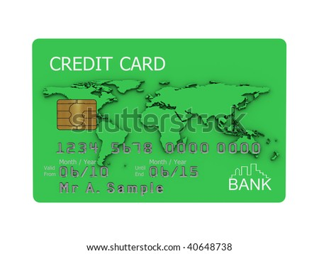 Realistic illustration of a green credit card with fictional details, isolated on a white background. - stock photo