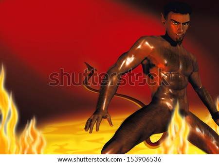 Realistic illustration of a hot devil in the hot, burning hell.