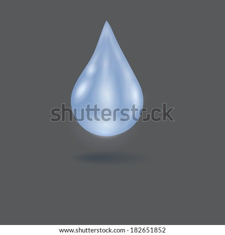 Realistic illustration of a single blue shiny water drop.