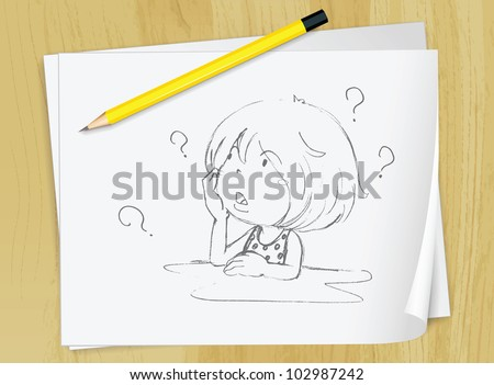Realistic illustration of a sketch of a girl on a piece of paper - EPS VECTOR format also available in my portfolio. - stock photo