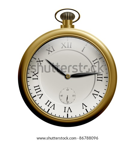 Realistic illustration of an old pocket watch, isolated on white background
