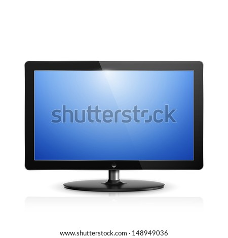 Realistic illustration of computer monitor with blue screen. - stock photo
