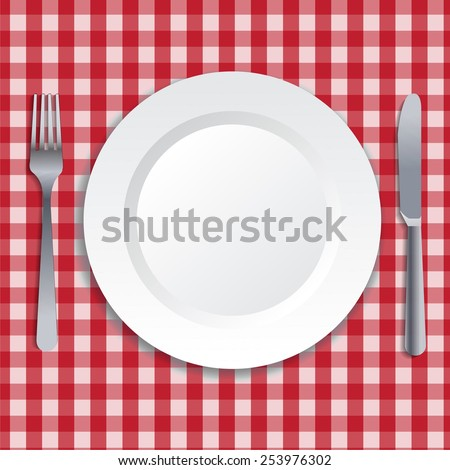 Realistic illustration of plate, fork and knife. - stock photo