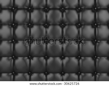 Realistic illustration of shiny black buttoned leather.