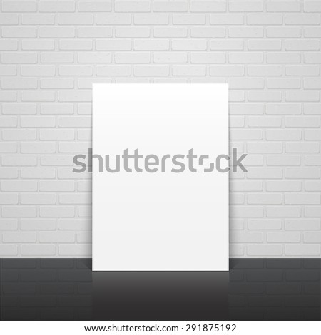 Realistic illustration of white blank poster on brick wall. High quality mockup (mock up).