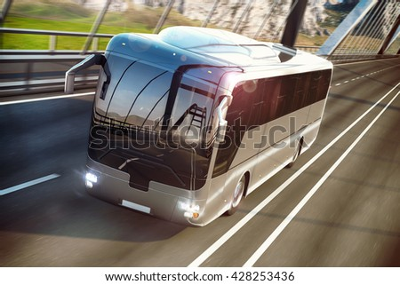 Realistic image of grey bus on the road. Business Travel Concept. Road bridge 3D rendering - stock photo