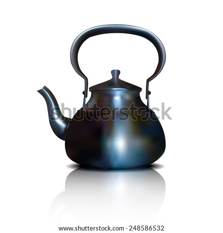 Realistic kettle with shadow on a white background - stock photo