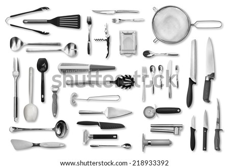 Realistic kitchen equipment and cutlery collection isolated on white - stock photo