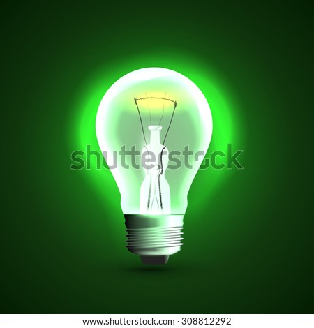 Realistic light bulb icon. On green background - stock photo