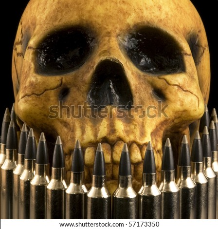 realistic-looking human skull model seen behind a row of rifle cartridges.