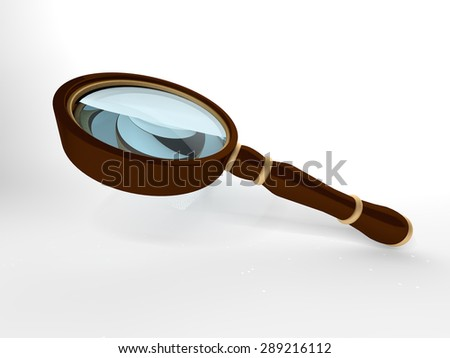 Realistic Magnifying Glass with Options Color and Size, isolated on white background - stock photo