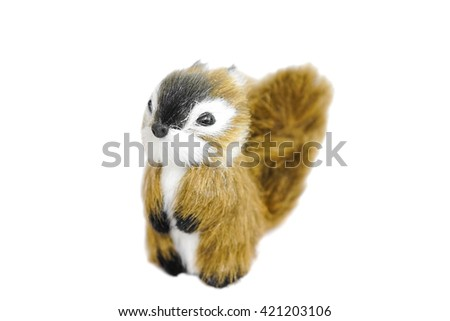 Realistic Miniature Squirrel, Animal Replica Prop Fur Toy, for Decoration, Selective Focus, isolated on white background - stock photo