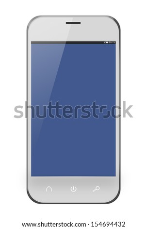 Realistic mobile phone in Iphon style with purple screen isolated on white background. - stock photo