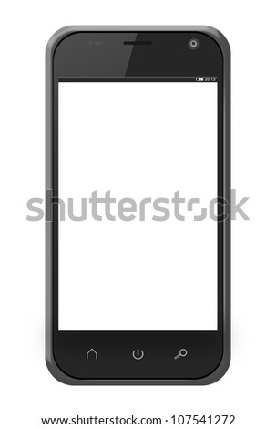 Realistic mobile phone in iphone style with blank screen isolated on white background.  - stock photo