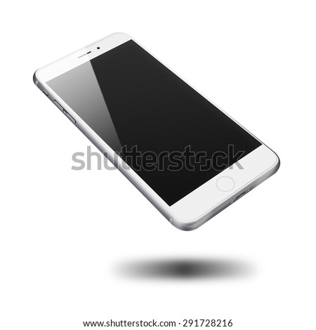 Realistic mobile phone iphon style mockup with black screen and shadows isolated on white background. Highly detailed illustration. - stock photo