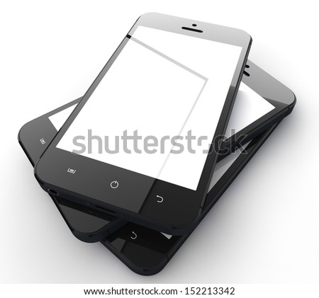 Realistic mobile phones with blank screen isolated on white background - stock photo